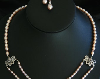 Freshwater Pearl Necklace with Sterling Pearl Drop