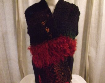 Crochet Scarf in Black and Red