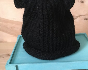 Hand-knit  Black Bear Beanie - Child  Size