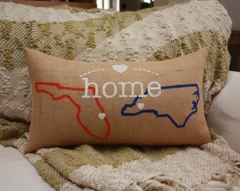 Burlap Pillow / Home / State Pillow / Heart Connection / Two States / Home away from Home