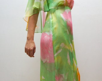WATERCOLOUR BLOSSOM 1970's Hand-Dyed Neon Pastel Chiffon Angel Sleeve Disco Gown, by MiMi Tokyo