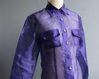 PURPLE ORGANZA 1990's See-Through Rave Wear Club Kid Shirt, by LIMITÉ