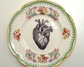 Vintage Anatomical Heart Plate Altered Art