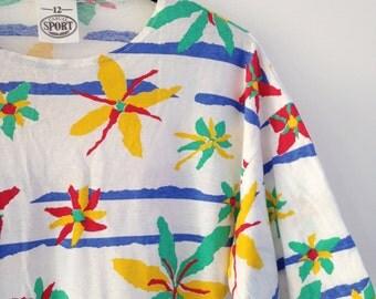 Vintage Ladies 80s t shirt 12 UK Casual Sport tee 90s rad