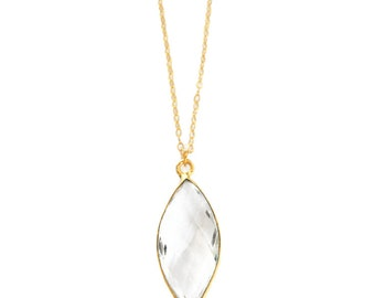 Crystal Pendant, Crystal Necklace Gold, Marquise Setting