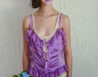 vintage 1980s purple lace ruffle onesie
