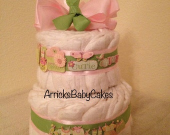 The Cuteness 2 Tier Baby Girl Mini Diaper Cake