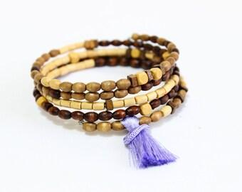 Layered Bracelet, Earthy Jewelry, Wood Bracelet, Bohemian Bangle, Beaded Wire Bracelet, Wooden Bead Bracelet, Wooden Jewelry, Yoga Jewelry