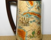 Vintage Mug, Map, Plastic, Thermo Serv, Insulated, Tall Cup, Bar Ware, Beer Mug, Old World Map, Gulf of Mexico