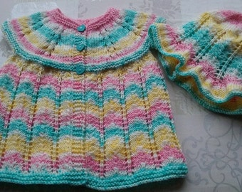 Hand knitted newborn Cardi/sweater and Bonnet/Baby girl/0-6months/18ins chest