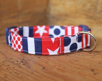 Patriotic Dog Collar - Fourth of July Red/White/Blue Print