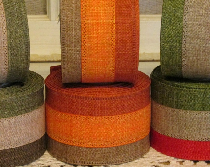 "Orange & Natural Wired Ribbon, Pumpkin Wired Ribbon, Primitive Rustic Fall Ribbon, 5YDS Wired Ribbon, 2.5"" wide Craft Ribbon, Orange Stripe"