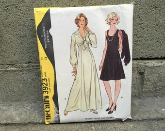 70's McCall's 3923 Pattern Misses' Dress and Jacket Pounds Thinner Pattern // Size 12 Bust 34