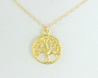 Tree of Life Necklace Gold Filled Women Girls High Quality Shiny Vermeil Jewely Small Pendant Custom  Symbolic Gift