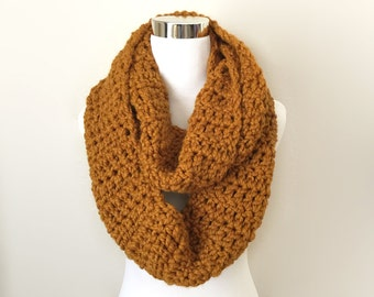 Butterscotch chunky crochet infinity scarf