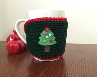cozy mug sweater knitted Christmas tree mug sleeve Christmas gift or for you