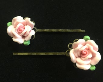 Polymer Clay Rose Bobby pins