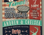 Couples BBQ Baby Shower Invitation- Baby-Q Shower, GIRL/BOY, Woodlands, Deer, Arrows, Gingham Check