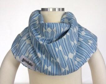 100% Organic Cotton (Blue Anecdote) SCABIB scarf/bib for children