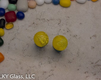Yellow Fused Glass Earrings, Round Earrings, Post Earring, Dichroic Glass Earrings, Yellow Earring Studs, Stud Earrings, PST0122