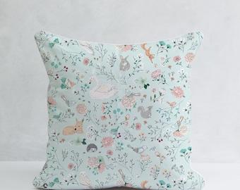 Blue Forest Animals Pillow, Decorative Pillow, 100% Cotton, Nursery Cushion Cover, Woodland Pillow, Woodland Nursery Decor, Shower Gift Idea