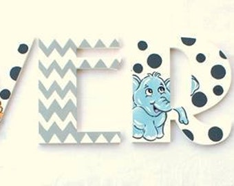 Chevron Safari Painted Letters, Gray Chevron Nursery Letters, Animal Alphabet Letter, Safari Wood Letters, Safari Nursery Photo Prop Letters