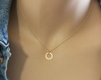 14k Gold Open Circle Charm Necklace, Minimalist Charm Necklace, 10mm Open Circle Charm, Solid 14k Loop Necklace, Tiny Solid Gold Necklace