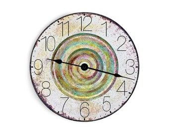 Clean and crisp, distressed white clock with aqua blue and green rings in the center. Circle design.
