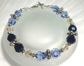 Crystal Bracelet Beaded Jewelry Swarovski Bracelet Blue Crystal Jewelry Holiday Gift For Her