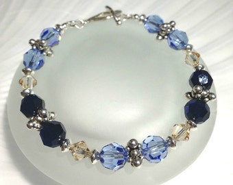 Crystal Bracelet Beaded Jewelry Swarovski Bracelet Blue Crystal Jewelry Holiday Gift For Her