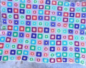 Vintage Afghan Hand Crocheted Granny Squares Coloful Blanket Lap Throw