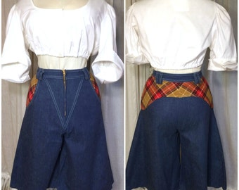 70s Flannel Cutouts Long Wideleg High Waisted Jean Shorts