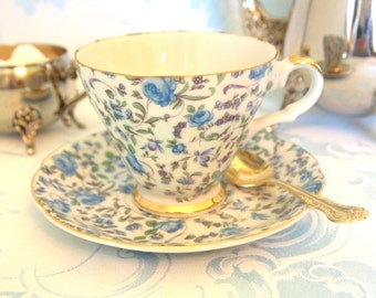 Lefton Tea Cup Set Blue Roses Chintz Pattern | Lefton China Teacup and Saucer Set | Afternoon Tea Party | Gift for Her