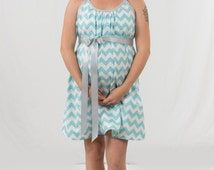 Aqua blue chevron hospital gown for labor and delivery nursing breastfeeding