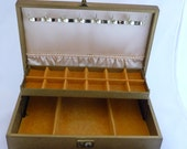 Vintage Gold Leather Jewelry Box