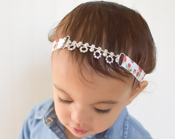 Petite Dangling Flower Rhinestone Headband, Roses, Girls, Prom, Wedding, Flower Girls, Babies, Teens, Headbands, Bridal, Glam, Adults, Baby