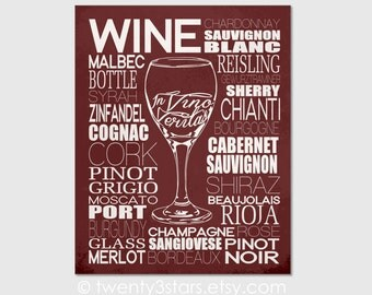 Wine Typography Champagne Canvas or Art Print, In Vino Veritas, Choose Any Colors for Kitchen, Wine Tasting Kinds Types Terms Kitchen Art