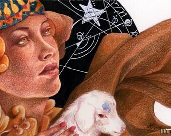 Spellcaster, Colour-Pencil Drawing - Original Fantasy Artwork