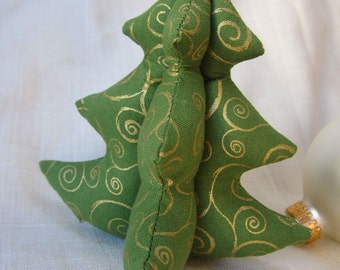 """Tiny Tree Ornament - Olive Green and Gold Swirls - Small 4"""" - 10 cm"""