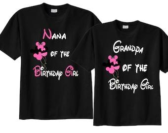Nana and Grandpa Matching Birthday Shirts with Balloons