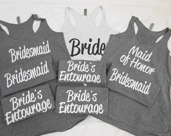 "Set of ""8 Bridesmaid Tank Top"", 8 Bachelorette party tanks, nautical bachelorette, brides mates, brides crew, brides entourage, team bride"
