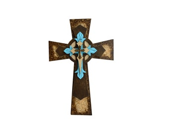 "Decorative Wall Cross Wooden Layered Crossess  15"" inch"