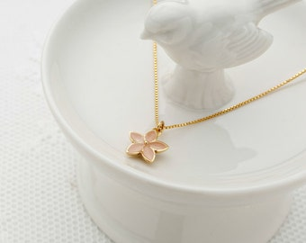 Dainty Gold Flower Necklace Bridesmaids Necklace Flower Enamel Pendant Everyday Necklace Blush Wedding Gold Filled Jewelry.