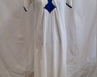 1960s White and Blue Kaftan Dress