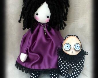 Collectible doll. Handmade Goth cloth doll Joliette with monster doll. Goth rag doll, goth cloth doll, handmade goth doll, collectible doll