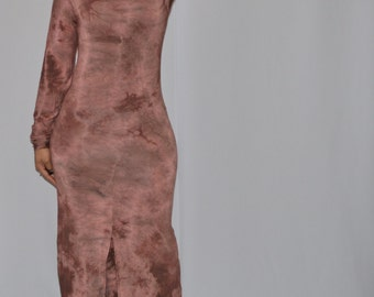 Cocoa Brown Tie-Dye Maxi Dress w/ Long Sleeves and Front Split