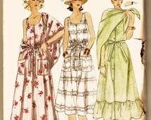 Vintage 70's Vogue Pattern 7055 BoHo Button Front Sundress w Shawl Sz 8 Uncut FF Hippie Resort & Cruise Wear Dress Sewing Pattern Supplies