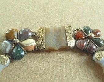 Antique Victorian Sterling Silver Agate Bracelet