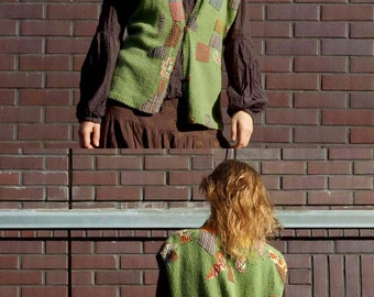 Green hand knitted Vest jacket, wool and fabric applique, Boro Sashiko patchwork, hand sewing, original clothes, multicolor warm waistcoat