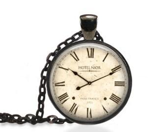 Vintage Clock Jewelry, Antique Pocket Watch Pendant, Vintage Clock Necklace [D7]
